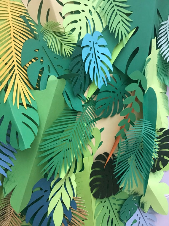 Paper leaves palette, green leaves, leaves cut outs, palm leaves, palm leaf, tropical leaves - shaded