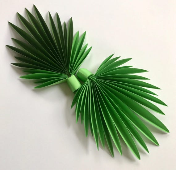 Paper leaves, green leaves, leaves cut outs, Pack of 3 leaves, palm leaves, palm leaf, tropical leaves - shaded