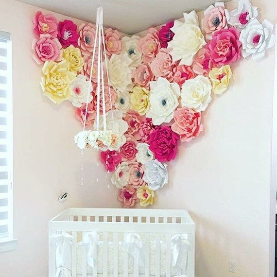 DIY Nursery room paper flowers / Paper Flower Backdrop / Giant Paper Flowers Wall / Paper Flower Wall /Large paper flowers /
