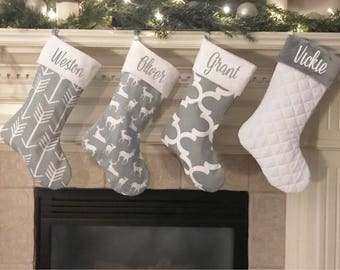 family christmas stocking personalized christmas stocking farmhouse stockings gray stockings personalized stockings
