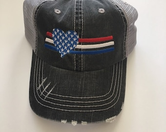 716e4cd9 USA Hat. 4th of July Hat. America Hat. Patriotic BaseBall Hat. Distressed  Trucker Hat. Memorial Day Hat.