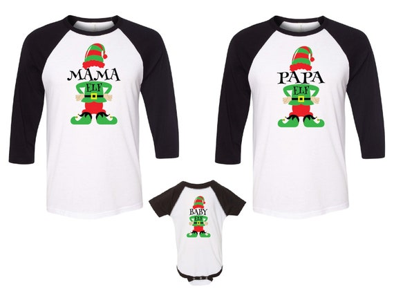 ab1f3fc22305 Family Matching Family Christmas Shirts Mama Elf Papa Elf | Etsy