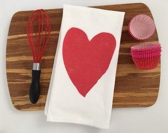 Valentines Day Decor. Flour Sack Towels. Farmhouse Decor. Valentines Day Gift. Tea Towel Flour Sack. Kitchen Towels. Dish Towel. Heart.