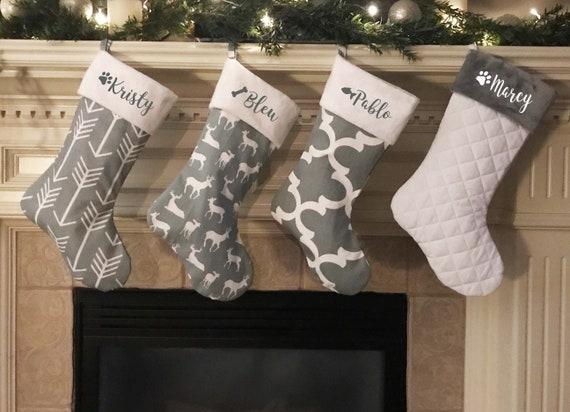 Gray Christmas Stockings.Christmas Stocking Family Christmas Stocking Personalized Christmas Stocking Farmhouse Stockings Gray Stockings Personalized Stockings