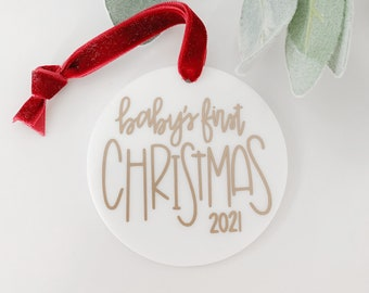 Christmas Ornament - Personalized - Baby's First Christmas - Baby's 1st Christmas - Gifts for Baby - New Baby -2021 Christmas -2021 Ornament