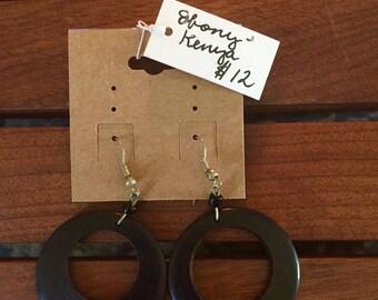 Kenyan ebony hoop earrings