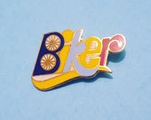 Vintage quot BIKER quot pin bike bicycle bikes bicycles cycling cycle cyclist sport enamel pinback button accessory sports wheel wheels 70s 80s 90s
