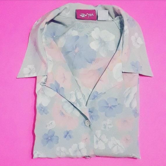 Vintage 80s/90s shirt floral flower flowers flower