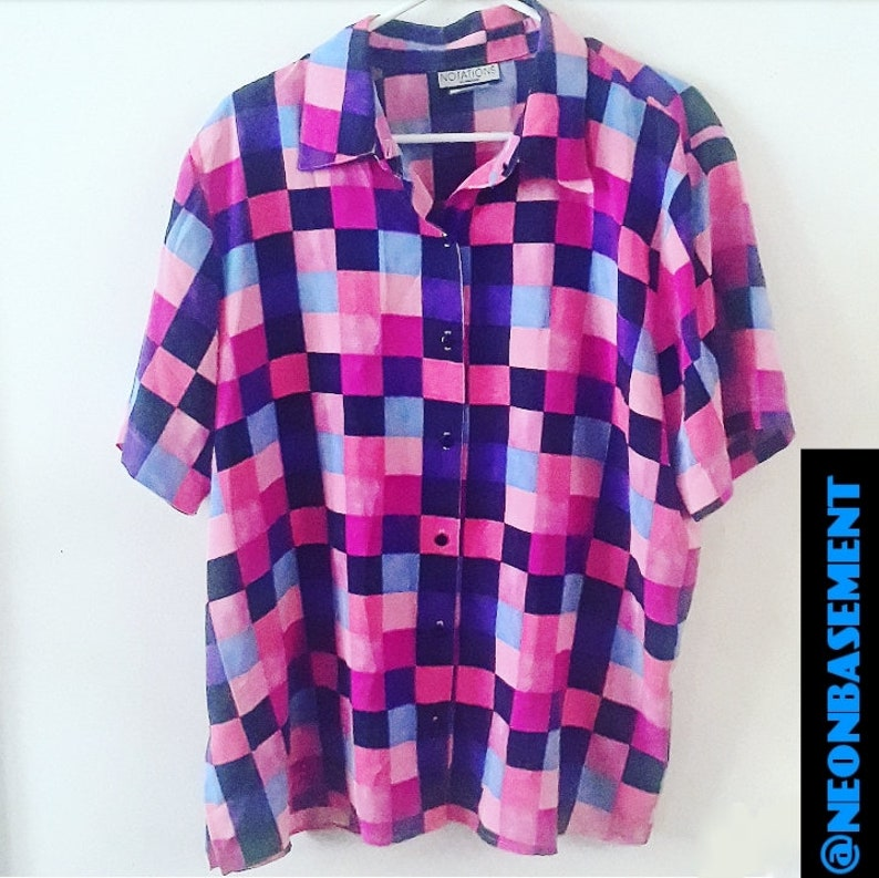 Vintage 80s90s shirt checkered neon pastel pastels oxford blouse grid fashion style clothing apparel top 80s /'80s 80/'s 1980s 90s /'90s 1990s
