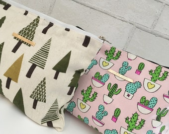 Cactus makeup bag/forest makeup bag with gold filled bar attached/toiletry bags