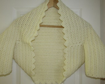BESPOKE hand made CROCHET winter wedding bolero shrug cardigan. cream UK 8-10