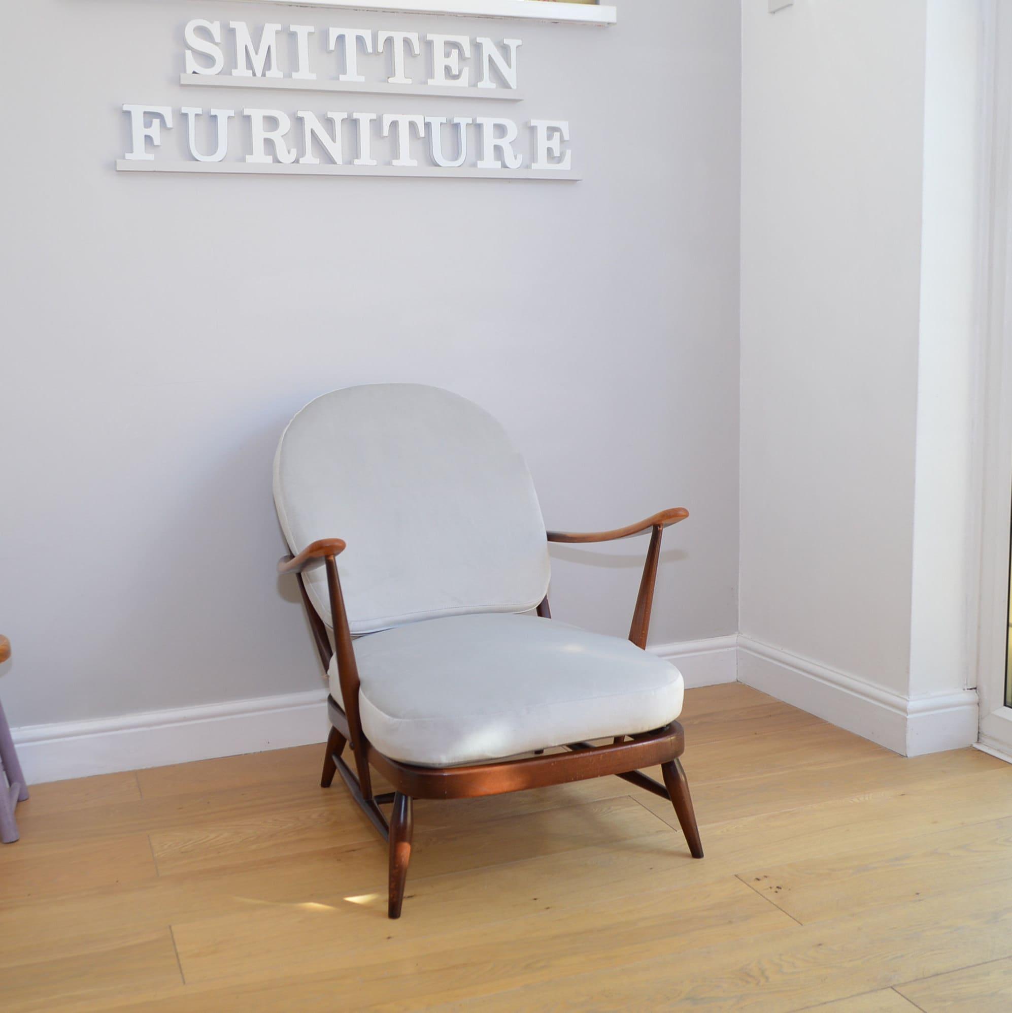 Beautiful Ercol Armchair Fleur De Lys With New Velvet Grey Cushions