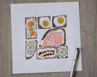Smørrebrød | Food Illustration | Art | Open-faced Sandwich |