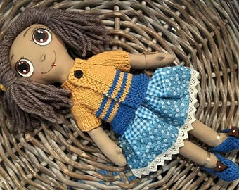 Rag doll H. 40 cm handmade, hand painted, with skirt blue flowers and striped sweater knitted