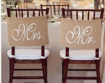 Mr. & Mrs. burlap chair banner