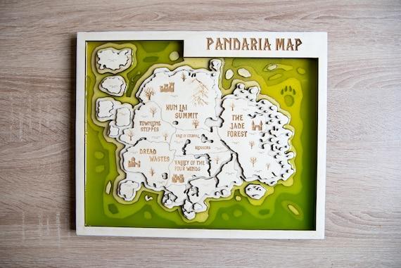 World of Warcraft Pandaria map, Pandaria Map, WOW Pandaria wooden map, 3D  Pandaria map, wood resin map of Pandaria, Resin Pandaria map