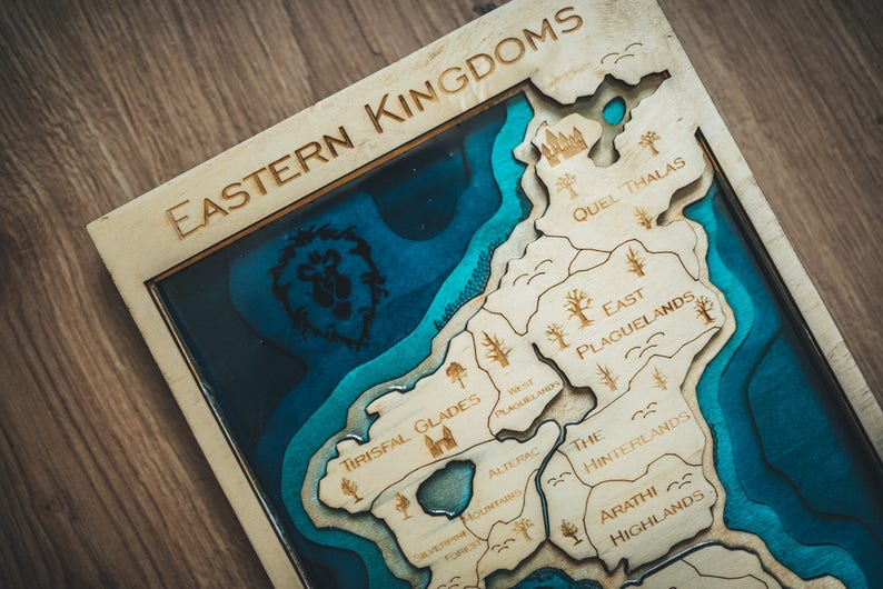 Eastern Kingdoms map Wood and resin World of Warcraft wooden   Etsy