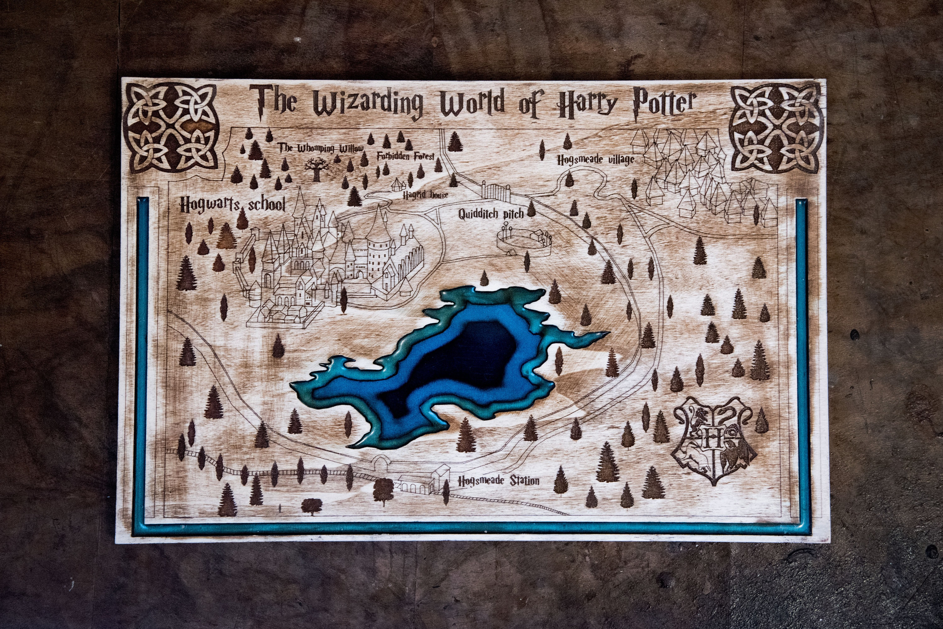 Harry Potter wooden map with blue lake Hogwarts map Harry