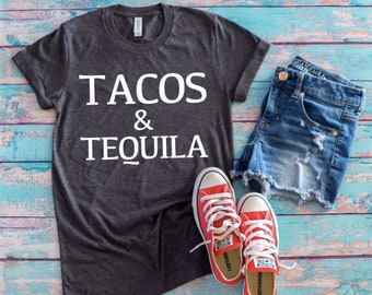 60b50d16d2f Tacos and Tequila Tshirts   Funny Tshirts for Her   Funny Shirts for Him   Taco  Lovers Shirts   Funny Plus Size Shirts   Adult Taco Shirts