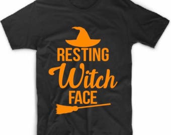 9fb46d8ccc6 Custom Halloween T-Shirts   Halloween Witch Tees   Plus Size Halloween Tee    Halloween Tshirts for Women   Resting Witch Face Tshirt   Funny
