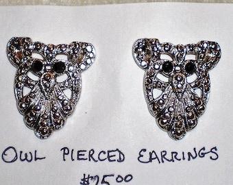 Vintage Owl Silvertone  Pierce Earrings-1970's-Super Sale