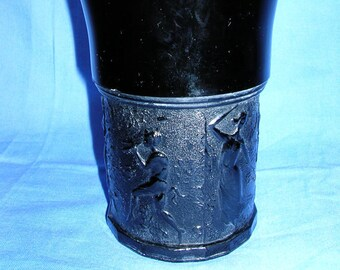 L.E. Smith Black Amethyst Glass Vase and Creamer Pitcher-Set of Two-1930's