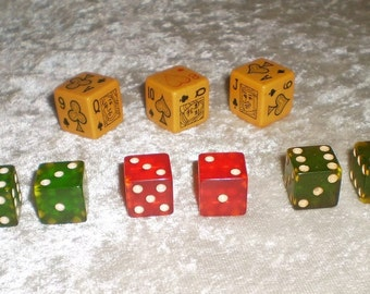 Vintage Bakelite Poker Dice and Game Dice Set-1940's