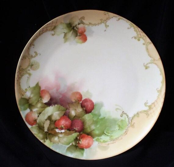 Vintage Porcelain Charger Plate Hand Painted Rose Petals-1940/'s