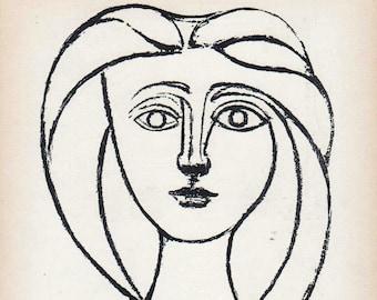 PABLO PICASSO 1956 Lithograph w/COA. Jeune fille 1945 Picasso Art Print. Unique Gift Idea of Very Rare Art. Exclusive Present Free Shipping