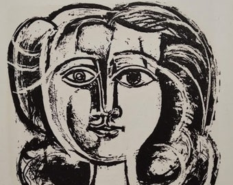 PABLO PICASSO 1956 Lithograph w/COA. Young Girl 1945, Picasso Art Print. Unique Gift Idea of Very Rare Art. Exclusive Present Free Shipping