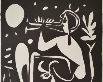Pablo Picasso 1955 Lithograph Musical Faun w/COA. Vintage Picasso Print Extremely Rare Art. Unique Gift Idea of Very Rare Art. Free Shipping