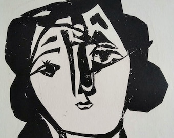 PABLO PICASSO 1956 Lithograph w/COA, after Tête de femme, Picasso 1945 Exclusive Print. Unique Gift Idea of Very Rare Art. Exclusive Present