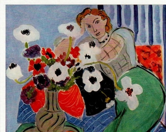 """Henri Matisse 1939 LITHOGRAPH w/COA. Exclusive Matisse Print after 1937 Classic """"Anemones & Woman, Harmony in Blue""""  Rare Art. Free Shipping"""