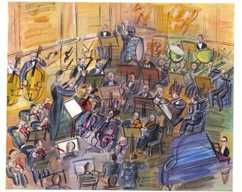 Raoul Dufy 1942 engraving +COA after Orchestre. CLASSIC Dufy Art  Unique Gift to musician of Exclusive Vintage Rare Art Print. Free Shipping