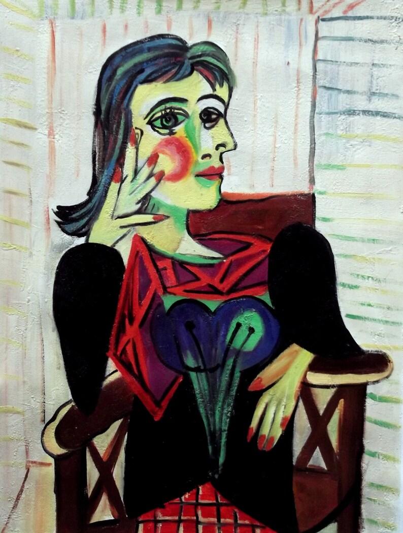 Pablo Picasso Ritratto di Dora Maar Seduta QUADRO STAMPA TELA CANVAS ARTE ARREDO