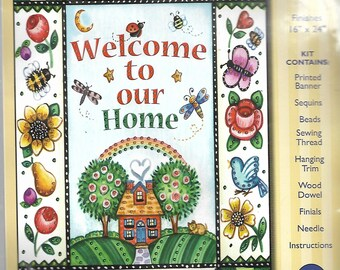 "Design Works ""Welcome"" jeweled banner kit #9536"