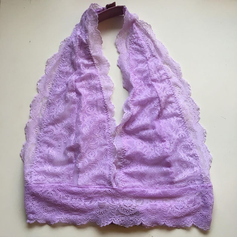 9b5aaed409 Lilac (Hand-Dyed) Lace Halter Bralette With Cotton Lining and 2 Closures     Lingerie    Dainty    Wedding   Valentine s Day  christmas