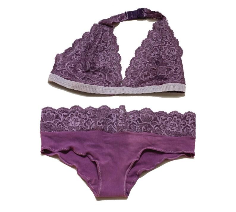 4a3f1dd4c1 Lavender Purple Lace Halter Top Bralette   Panties