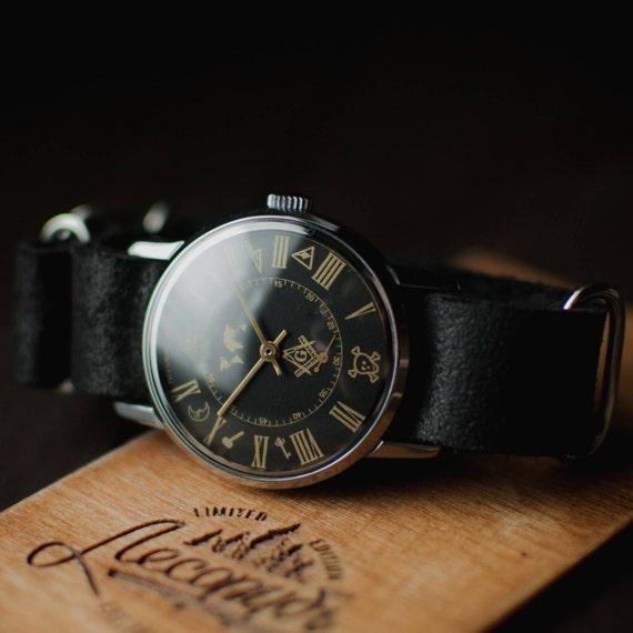 aef6480a102 Rare black mens wrist watch Maconic mechanical watch watches