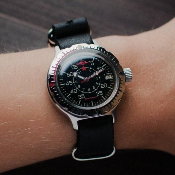 Seltene Militäruhr Wostok Amphibien, mechanische Uhr, Ost Uhr, Uhr, ihn russische Uhr Herren Uhr, military Uhren