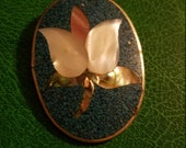 Rare large Alpaca silver Mexico pendant brooch lily flower pin inlaid mosaic white pink mother of pearl abalone turquoise malachite