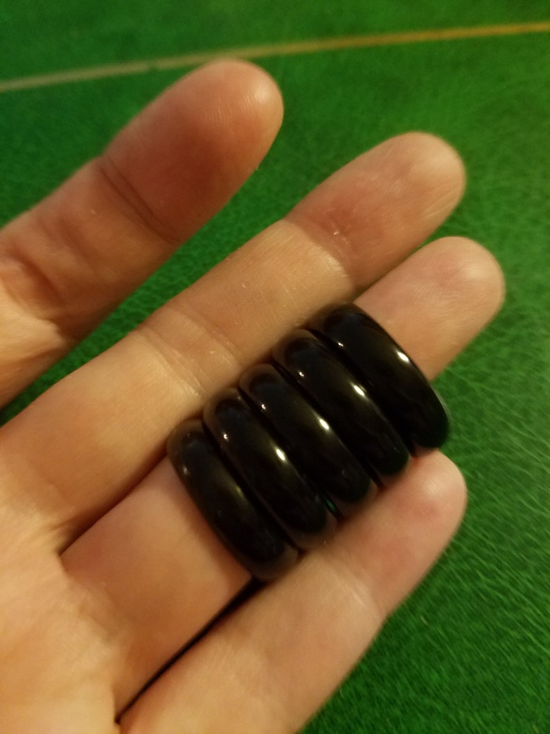 Stackable black jade or onyx ring carved gemstone 5 available bands 4 size 7 1 size 7.5  rounded edges