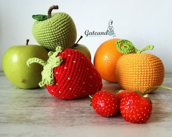 Pack 3 Fruits amigurumi. Crochet. Toy. Kitchen. Picnic. Rattle. Decoration.