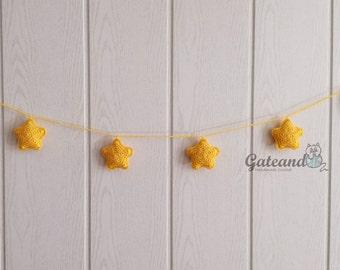 Garland star crochet. Baby room garland. Baby decoration. Christmas decoration.