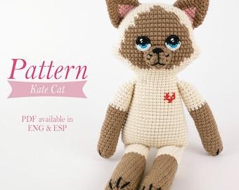 Amigurumi Cat Pattern - Kate Cat - Tutorial PDF - Crochet - Stuffed animal.