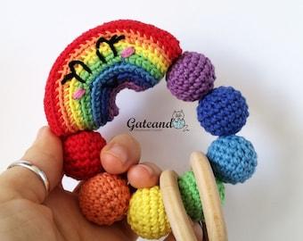 Rainbow rattle - Teething toy - Handmade 100% - Amigurumi - Toy - Crochet