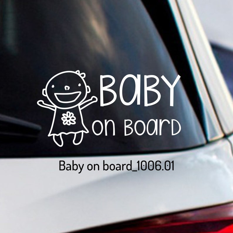 White Babies On Board Baby Car Sticker Sign Safety Vinyl Decal Car & Truck Parts