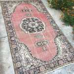 Stunnig Rug!!!Soft Pinky Red Oushak Rug,Vintage Rug,Home of Vintage Rug,3'7 x6'7 feet,Muted Rug,Turkish Rug interior Design Rug Low pile Ru
