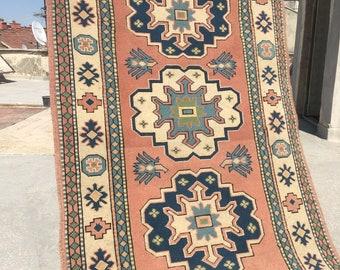 "Home of Vintage Oushak Rug,4.1""x7.1"" ft/Rug/Ethnic Turkish Rug/Vintage Rug/Boho Rug/Oushak Rug/İnterior and Designer Rug/Distressed Low Pile"