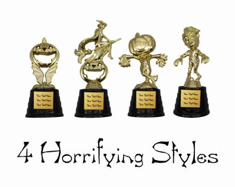 Holiday Halloween Party Trophies with Customized Plate Engraving (Pumpkin, Witch, Zombie, Scarecrow)
